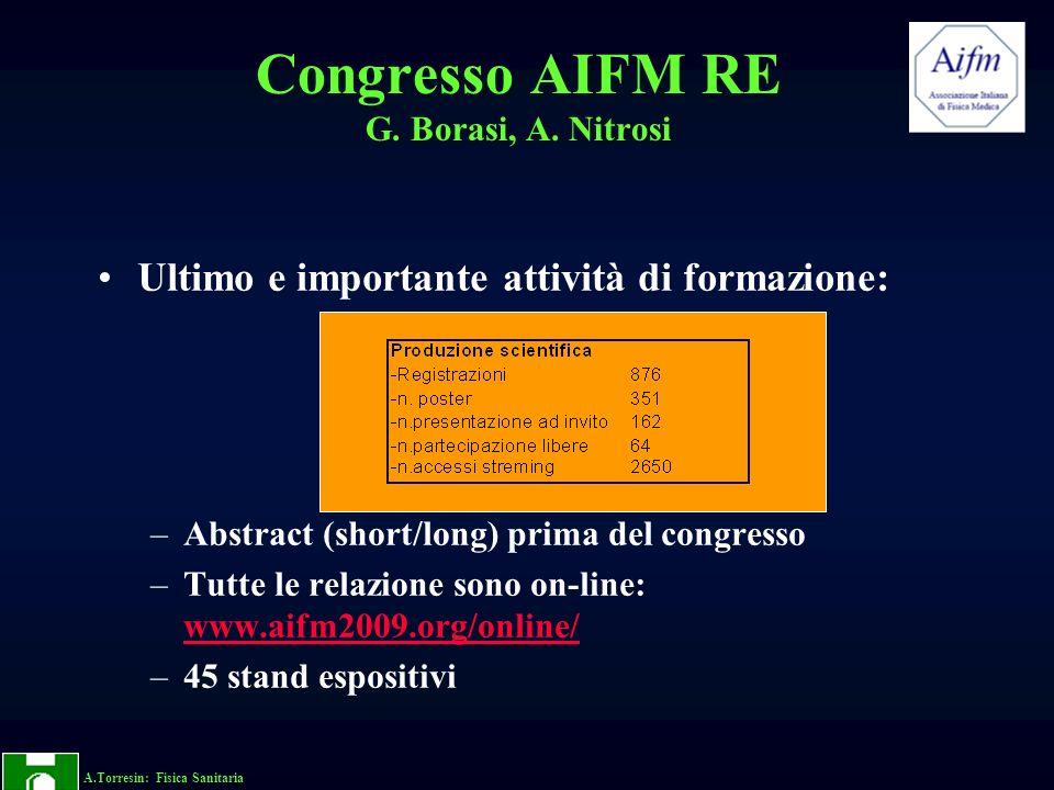 A.Torresin: Fisica Sanitaria Congresso AIFM RE G. Borasi, A. Nitrosi Ultimo e importante attività di formazione: –Abstract (short/long) prima del cong