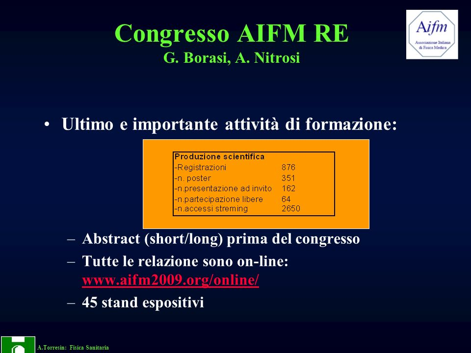 A.Torresin: Fisica Sanitaria Congresso AIFM RE G.Borasi, A.