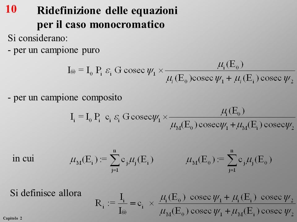 Ridefinizione delle equazioni per il caso monocromatico Si considerano: - per un campione puro - per un campione composito Si definisce allora in cui
