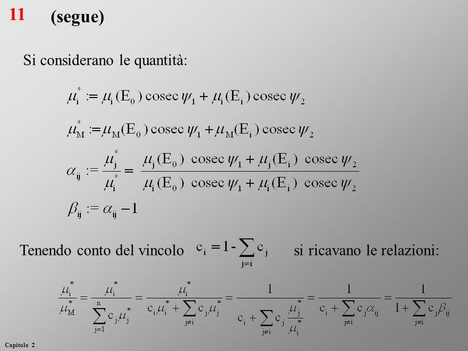 (segue) Si considerano le quantità: Tenendo conto del vincolo si ricavano le relazioni: 11 Capitolo 2