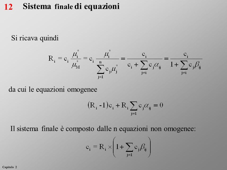 Sistema finale di equazioni Si ricava quindi da cui le equazioni omogenee Il sistema finale è composto dalle n equazioni non omogenee: 12 Capitolo 2