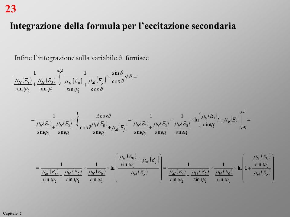 Infine lintegrazione sulla variabile θ fornisce Integrazione della formula per leccitazione secondaria 23 Capitolo 2