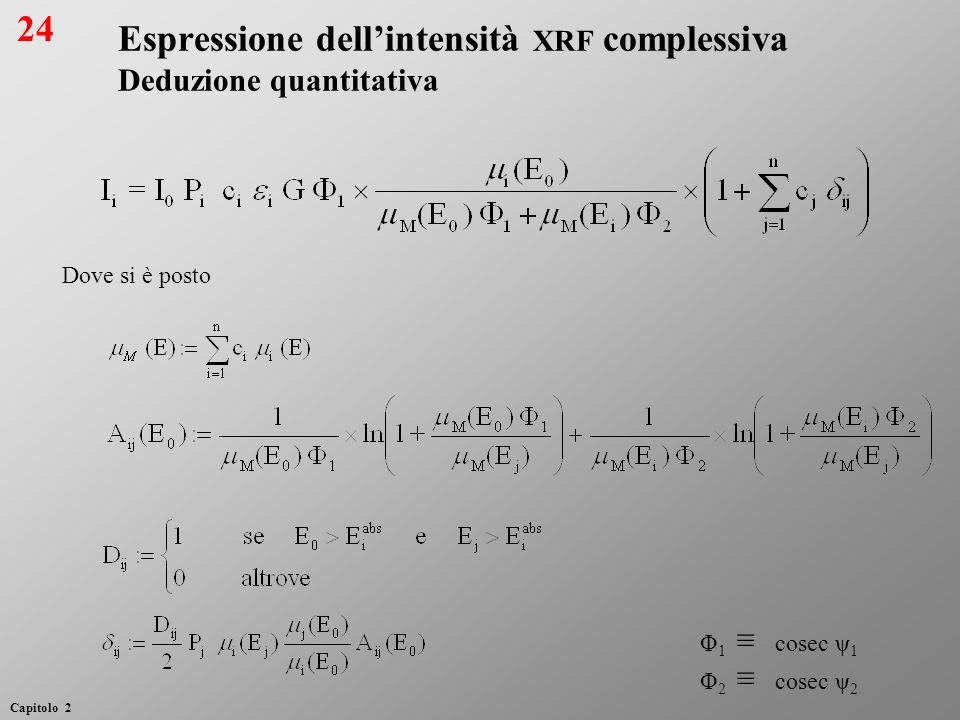 Espressione dellintensità XRF complessiva Deduzione quantitativa Φ 1 cosec ψ 1 Φ 2 cosec ψ 2 Dove si è posto 24 Capitolo 2