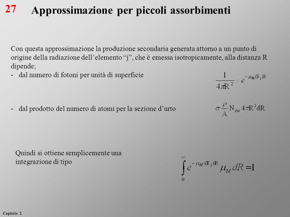 Con questa approssimazione la produzione secondaria generata attorno a un punto di origine della radiazione dellelemento j, che è emessa isotropicamen