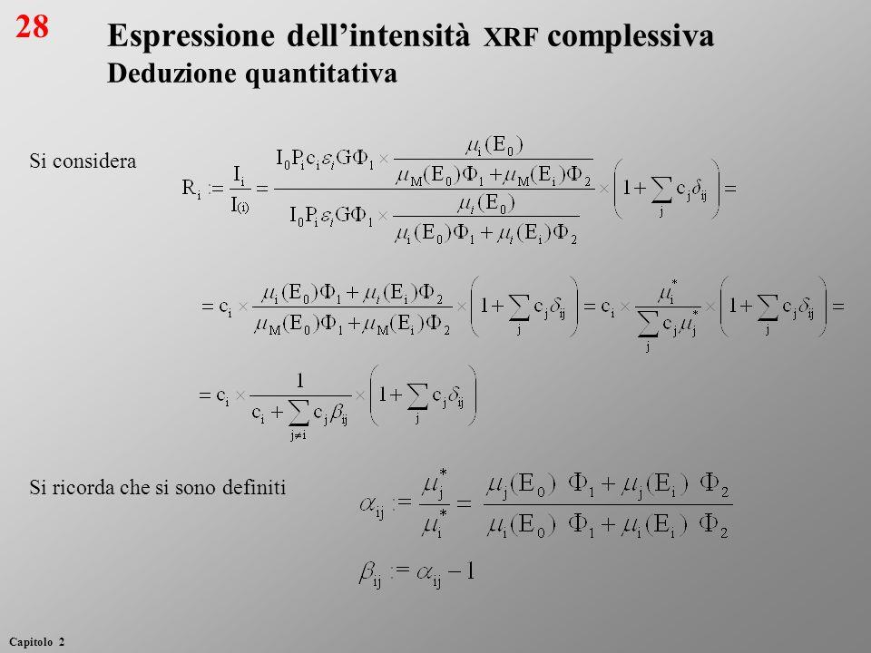 Si considera Si ricorda che si sono definiti Espressione dellintensità XRF complessiva Deduzione quantitativa 28 Capitolo 2