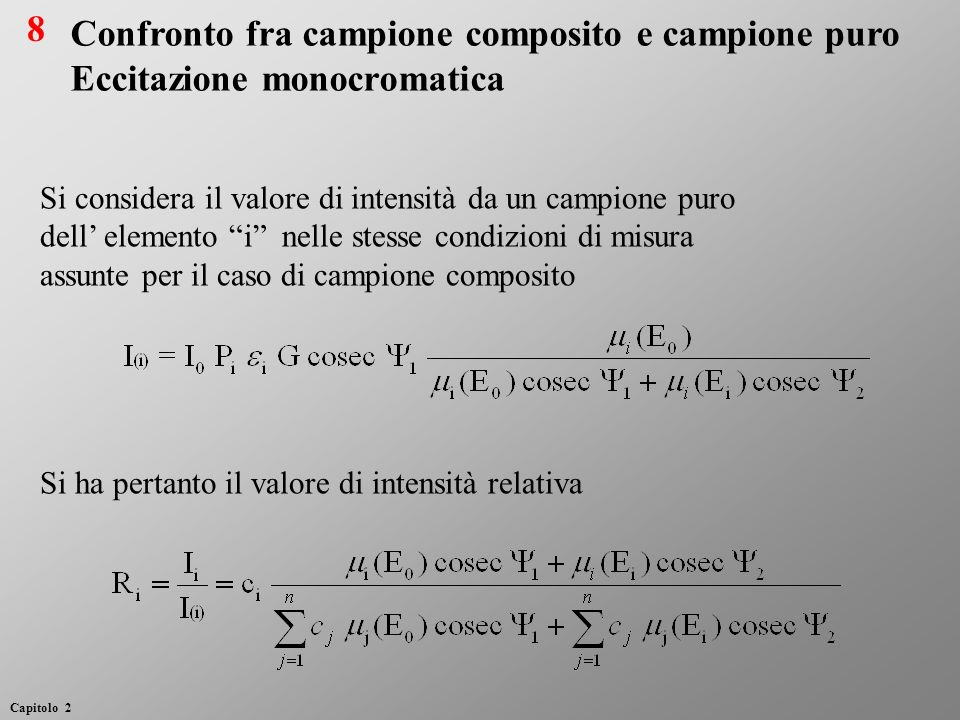 Si considera il valore di intensità da un campione puro dell elemento i nelle stesse condizioni di misura assunte per il caso di campione composito Si