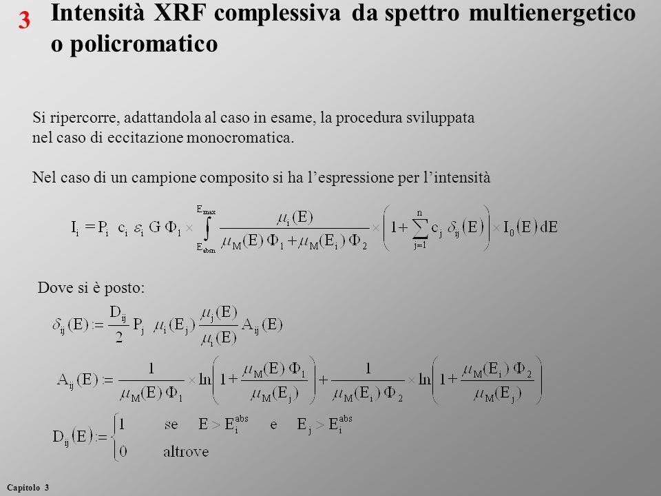 Nel caso di un campione puro si ha invece Dal rapporto delle due espressioni, approssimando lo spettro di eccitazione mediante un insieme discreto di contributi da k intervalli di energia, si ricava: Dove: Intensità XRF complessiva da spettro multienergetico 4 Capitolo 3