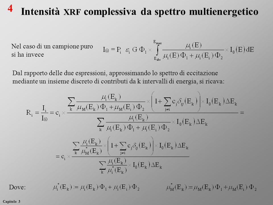 Si osservi che (si veda il caso monocromatico): Si esplicitano i valori delle concentrazioni c i come Si ricava quindi il sistema di equazioni per c i : Intensità XRF complessiva da spettro multienergetico 5 Capitolo 3