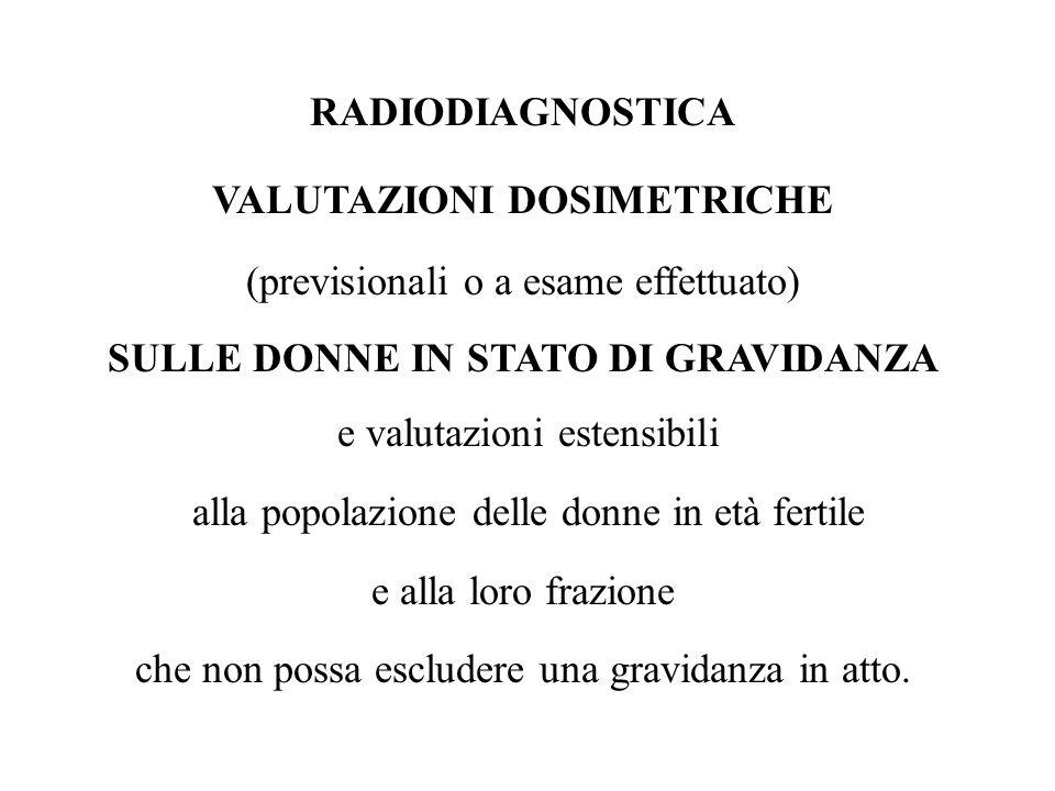 RADIODIAGNOSTICA VALUTAZIONI DOSIMETRICHE (previsionali o a esame effettuato) SULLE DONNE IN STATO DI GRAVIDANZA e valutazioni estensibili alla popola