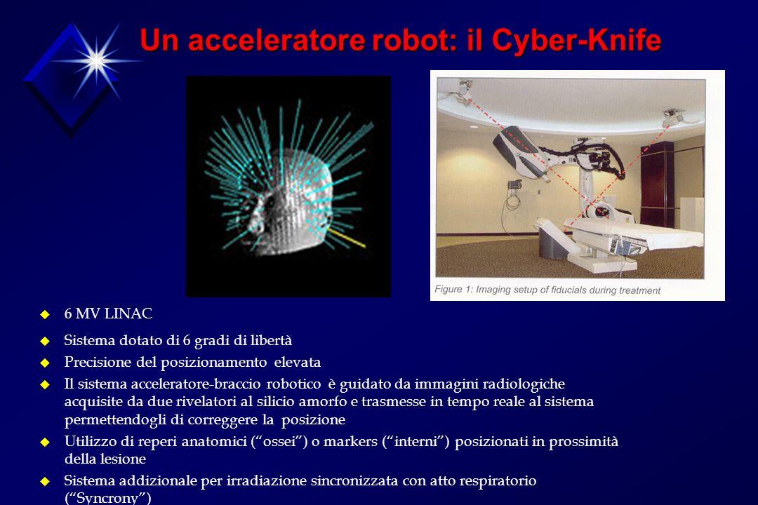 Un acceleratore robot: il Cyber-Knife u 6 MV LINAC u Sistema dotato di 6 gradi di libertà u Precisione del posizionamento elevata u Il sistema acceleratore-braccio robotico è guidato da immagini radiologiche acquisite da due rivelatori al silicio amorfo e trasmesse in tempo reale al sistema permettendogli di correggere la posizione u Utilizzo di reperi anatomici (ossei) o markers (interni) posizionati in prossimità della lesione u Sistema addizionale per irradiazione sincronizzata con atto respiratorio (Syncrony)