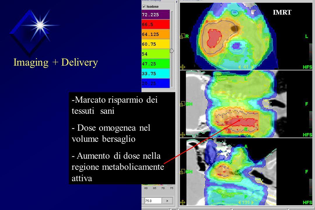 -Marcato risparmio dei tessuti sani - Dose omogenea nel volume bersaglio - Aumento di dose nella regione metabolicamente attiva IMRT Imaging + Delivery