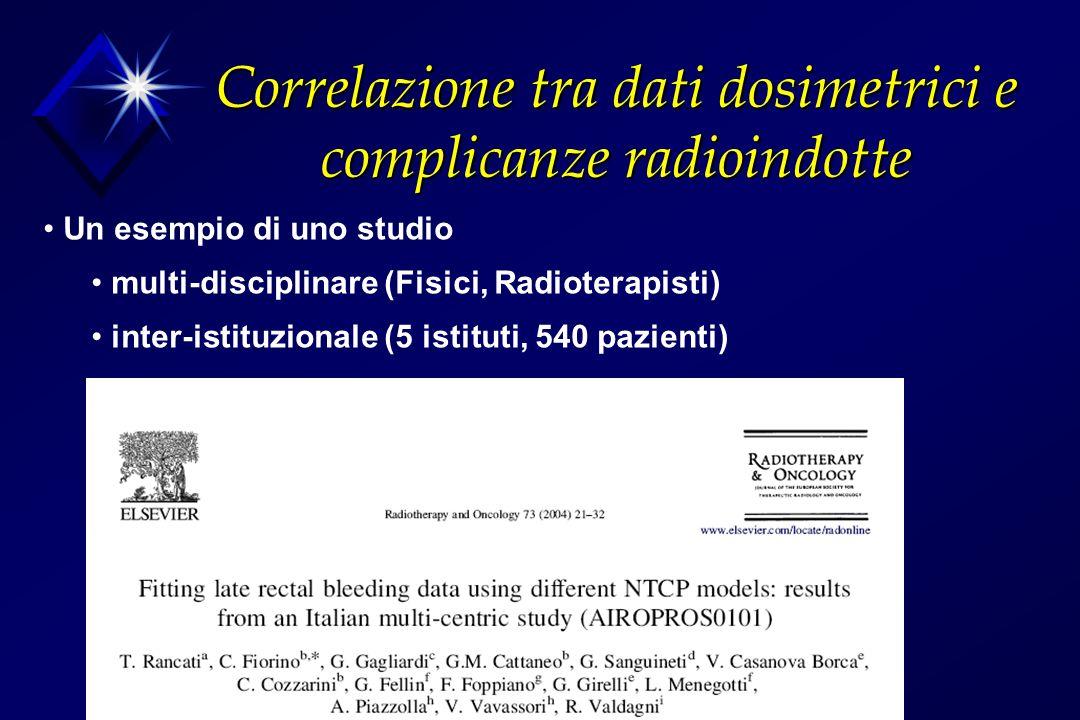 Correlazione tra dati dosimetrici e complicanze radioindotte Un esempio di uno studio multi-disciplinare (Fisici, Radioterapisti) inter-istituzionale (5 istituti, 540 pazienti)