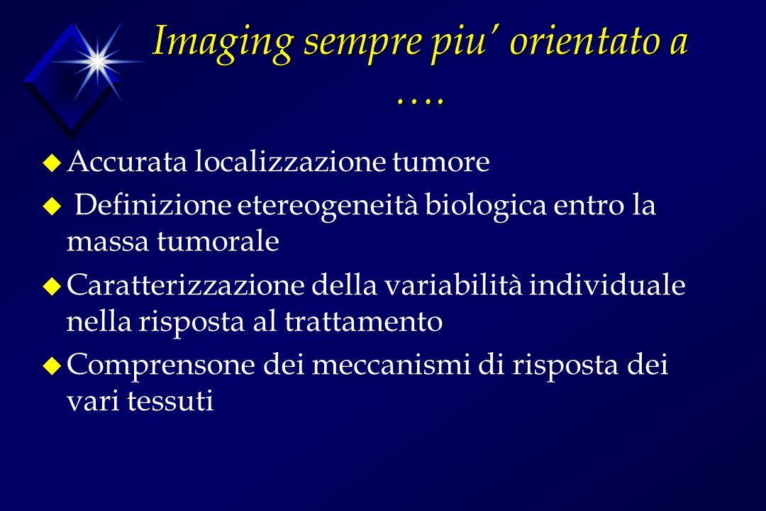 Imaging sempre piu orientato a …. u Accurata localizzazione tumore u Definizione etereogeneità biologica entro la massa tumorale u Caratterizzazione d