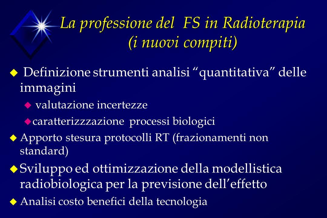 La professione del FS in Radioterapia (i nuovi compiti) u Definizione strumenti analisi quantitativa delle immagini u valutazione incertezze u caratte