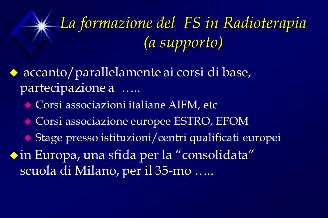 La formazione del FS in Radioterapia (a supporto) u accanto/parallelamente ai corsi di base, partecipazione a …..