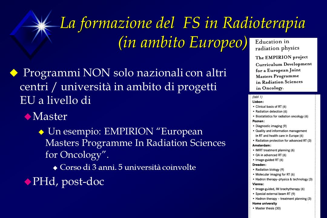 La formazione del FS in Radioterapia (in ambito Europeo) u Programmi NON solo nazionali con altri centri / università in ambito di progetti EU a livello di u Master u Un esempio: EMPIRION European Masters Programme In Radiation Sciences for Oncology.