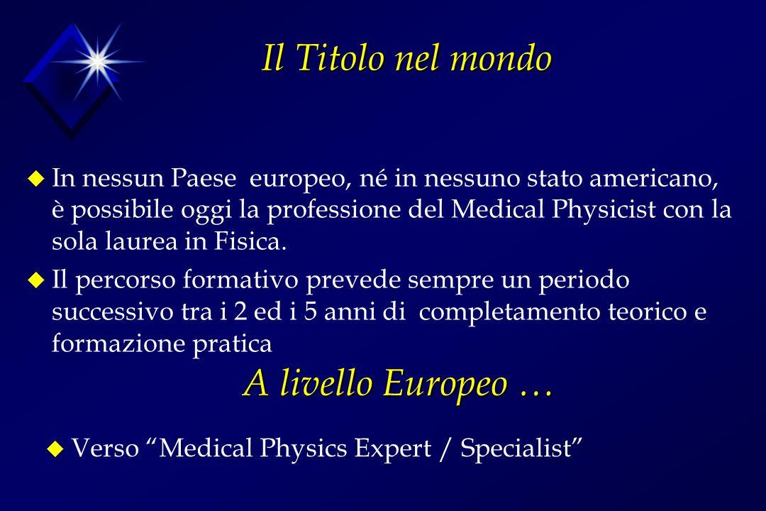 Il Titolo nel mondo u In nessun Paese europeo, né in nessuno stato americano, è possibile oggi la professione del Medical Physicist con la sola laurea