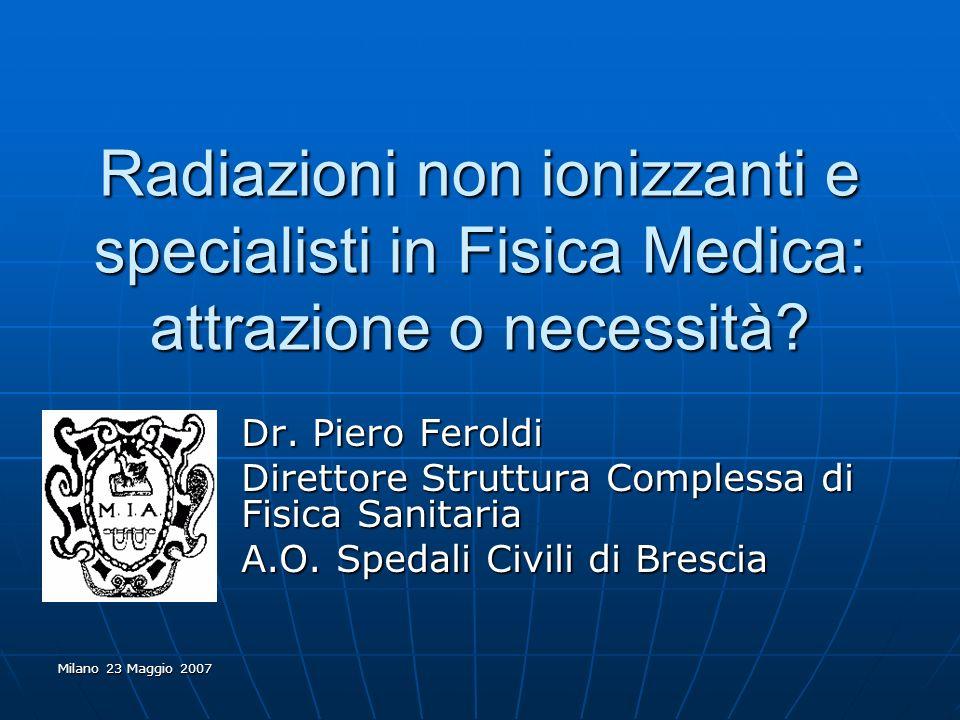 Milano 23 Maggio 2007 Radiazioni non ionizzanti e specialisti in Fisica Medica: attrazione o necessità? Dr. Piero Feroldi Direttore Struttura Compless