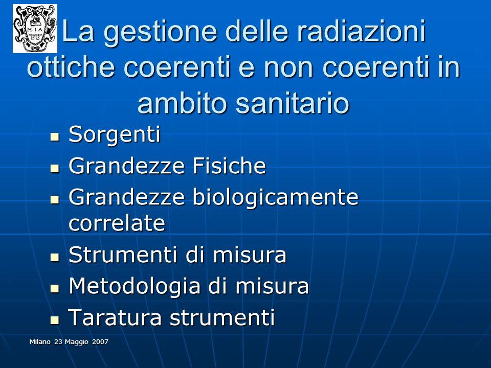 Milano 23 Maggio 2007 Sorgenti Sorgenti Grandezze Fisiche Grandezze Fisiche Grandezze biologicamente correlate Grandezze biologicamente correlate Stru