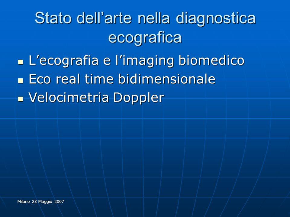 Milano 23 Maggio 2007 Stato dellarte nella diagnostica ecografica Lecografia e limaging biomedico Lecografia e limaging biomedico Eco real time bidime