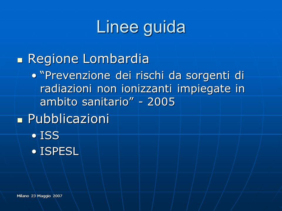 Milano 23 Maggio 2007 Linee guida Regione Lombardia Regione Lombardia Prevenzione dei rischi da sorgenti di radiazioni non ionizzanti impiegate in amb