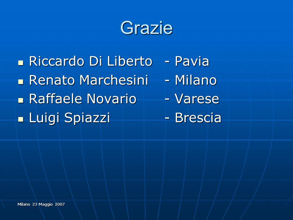 Milano 23 Maggio 2007 Grazie Riccardo Di Liberto - Pavia Riccardo Di Liberto - Pavia Renato Marchesini - Milano Renato Marchesini - Milano Raffaele No