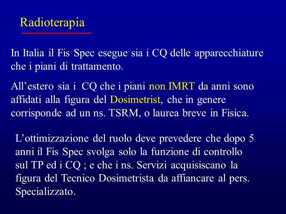 Radioterapia In Italia il Fis Spec esegue sia i CQ delle apparecchiature che i piani di trattamento.