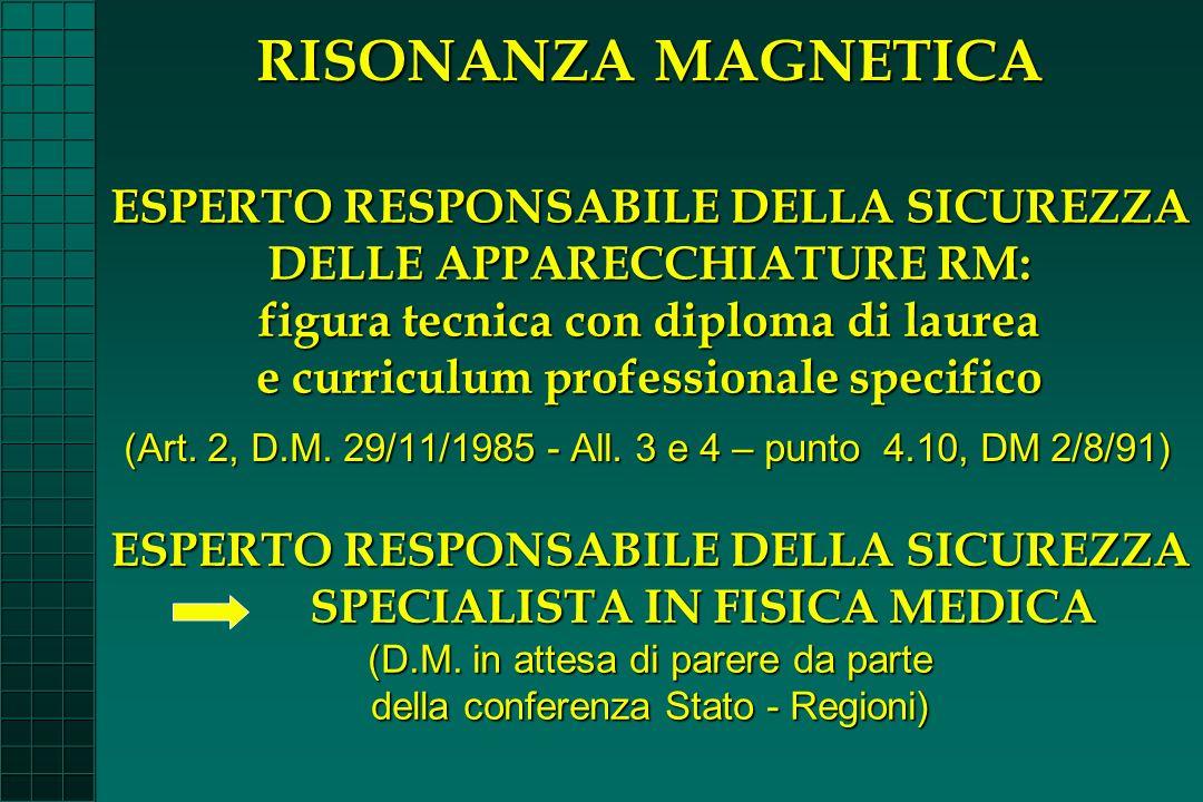 ESPERTO RESPONSABILE DELLA SICUREZZA SPECIALISTA IN FISICA MEDICA (D.M. in attesa di parere da parte della conferenza Stato - Regioni) (Art. 2, D.M. 2