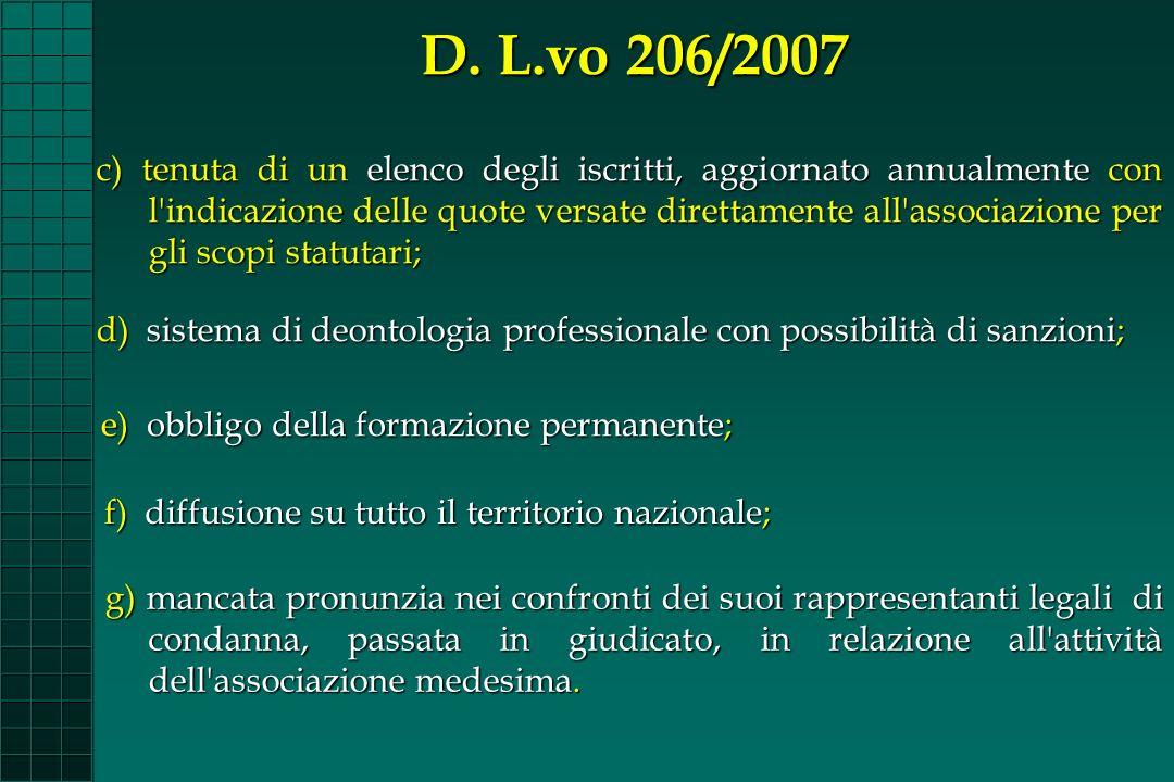 c) tenuta di un elenco degli iscritti, aggiornato annualmente con l'indicazione delle quote versate direttamente all'associazione per gli scopi statut