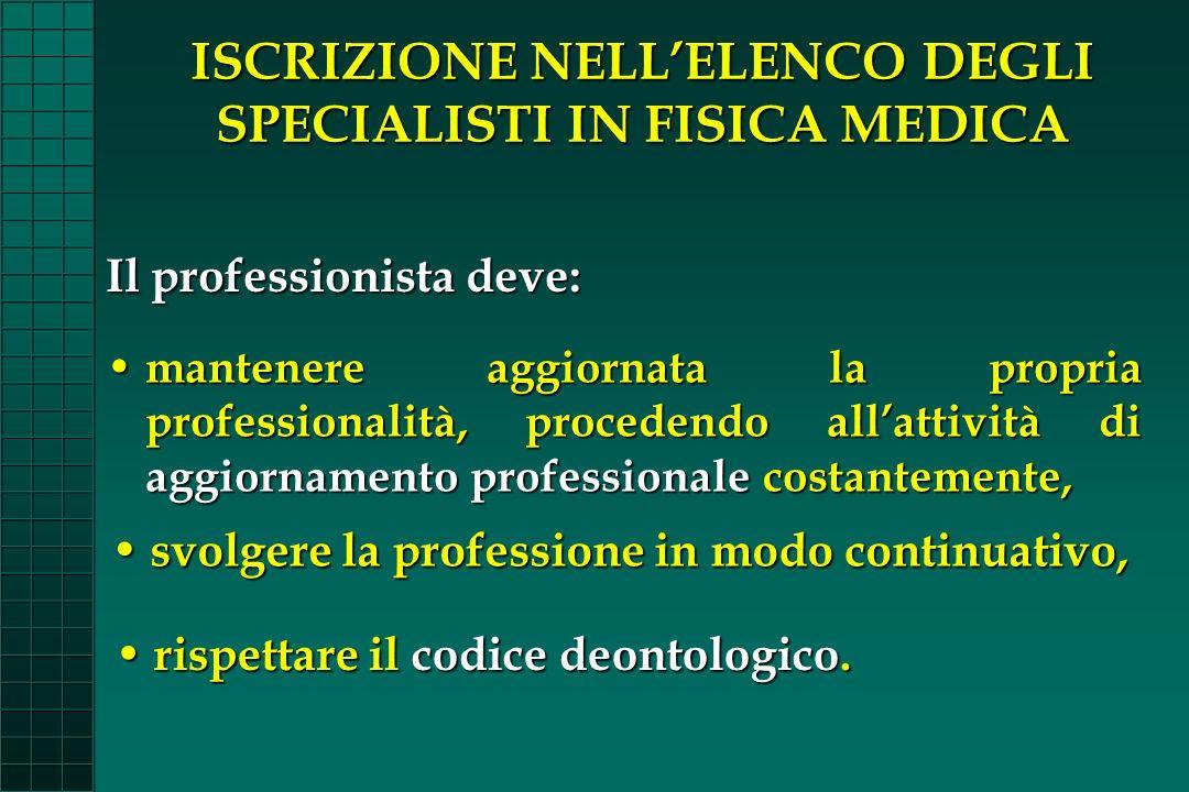 ISCRIZIONE NELLELENCO DEGLI SPECIALISTI IN FISICA MEDICA Il professionista deve: mantenere aggiornata la propria professionalità, procedendo allattivi