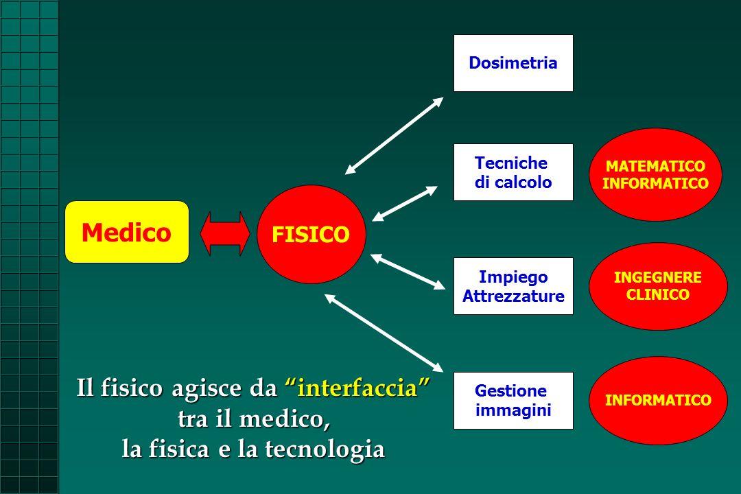 Medico FISICO Impiego Attrezzature Gestione immagini Tecniche di calcolo INFORMATICO INGEGNERE CLINICO MATEMATICO INFORMATICO Il fisico agisce da inte