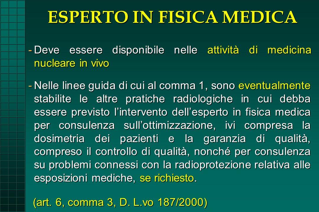 -Nelle linee guida di cui al comma 1, sono eventualmente stabilite le altre pratiche radiologiche in cui debba essere previsto lintervento dellesperto
