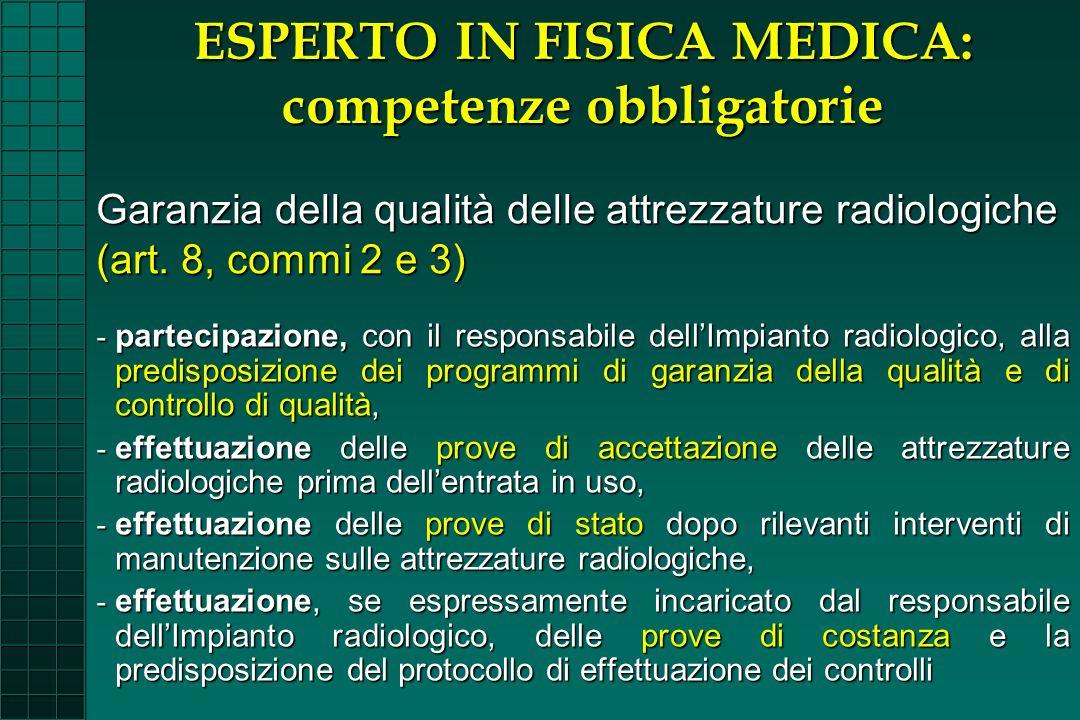 - partecipazione, con il responsabile dellImpianto radiologico, alla predisposizione dei programmi di garanzia della qualità e di controllo di qualità