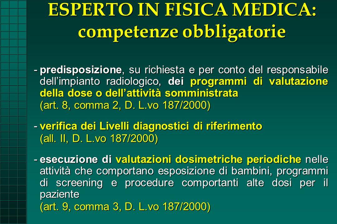 -predisposizione, su richiesta e per conto del responsabile dellimpianto radiologico, dei programmi di valutazione della dose o dellattività somminist