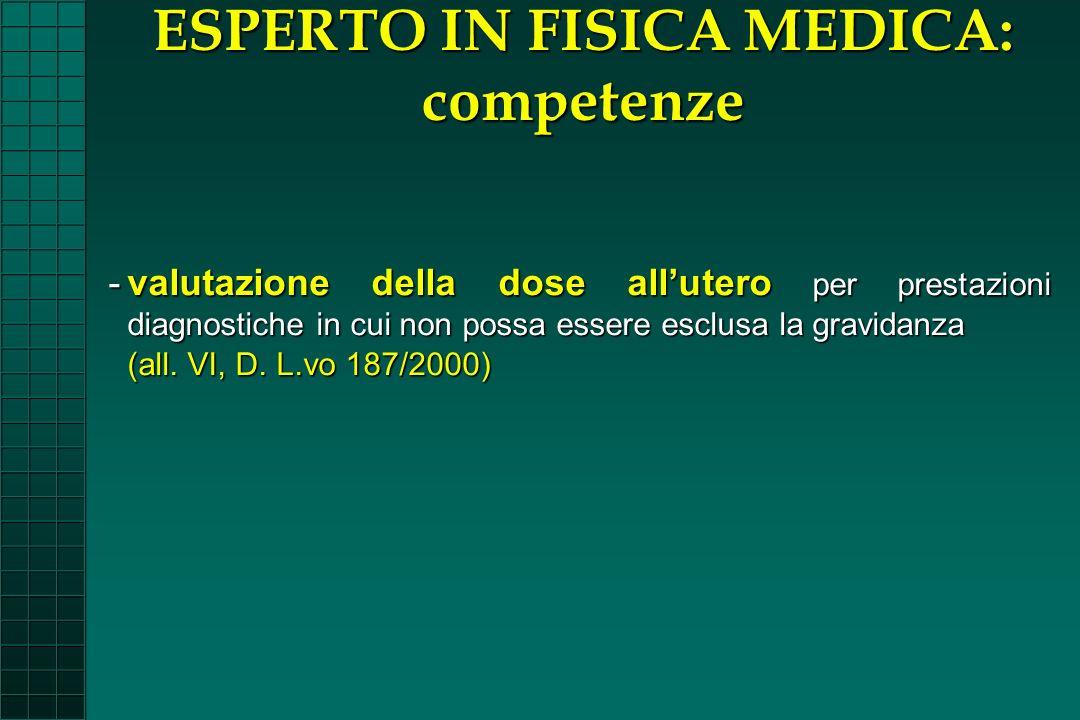 -valutazione della dose allutero per prestazioni diagnostiche in cui non possa essere esclusa la gravidanza (all. VI, D. L.vo 187/2000) ESPERTO IN FIS