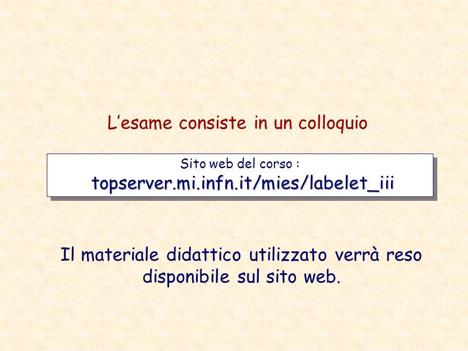 topserver.mi.infn.it/mies/labelet_iii Sito web del corso : topserver.mi.infn.it/mies/labelet_iii Lesame consiste in un colloquio Il materiale didattic