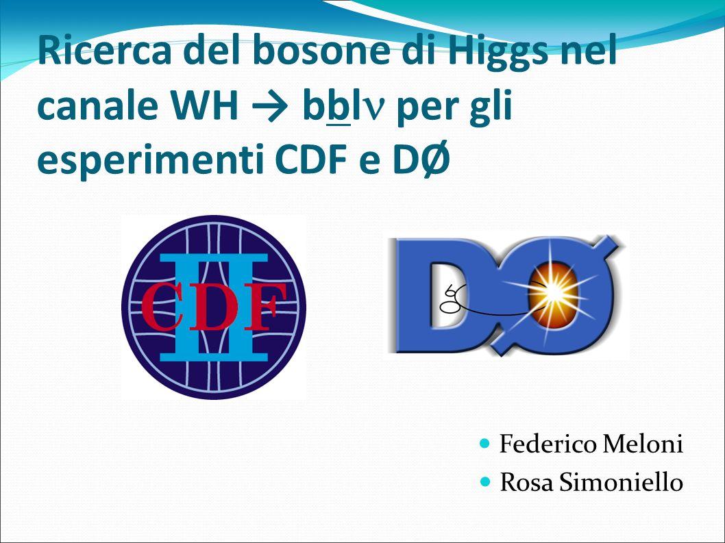 Accettanza del segnale dell Higgs La cinematica del processo WH l bb è ben nota ed è stata simulata con dei montecarlo Si prende in considerazione un range di masse tra 110 e 150 GeV poiché questa è la regione in cui H bb è dominante Il numero di eventi aspettati è dato da Dove è l efficienza del detector, Ldt è la luminosità integrata, la sezione d urto di produzione, B il branching ratio Le maggiori fonti di inefficienza sono l identificazione dei leptoni, la cinematica dei getti e il b-tagging
