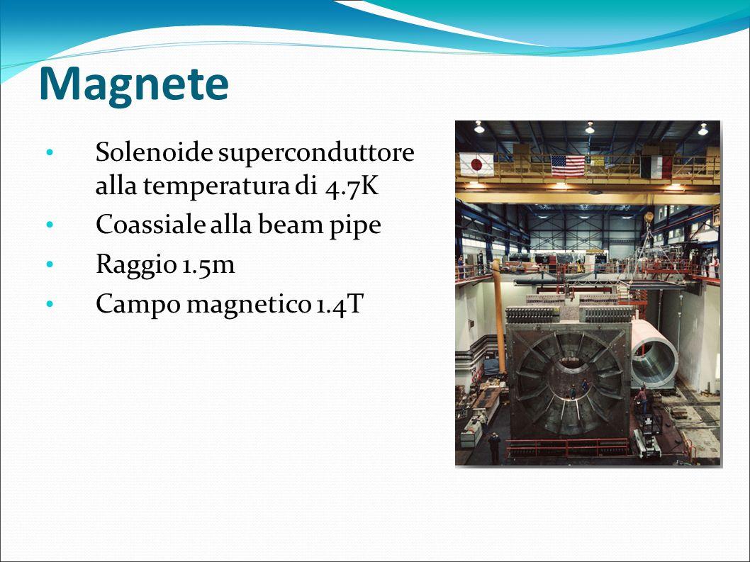 Magnete Solenoide superconduttore alla temperatura di 4.7K Coassiale alla beam pipe Raggio 1.5m Campo magnetico 1.4T