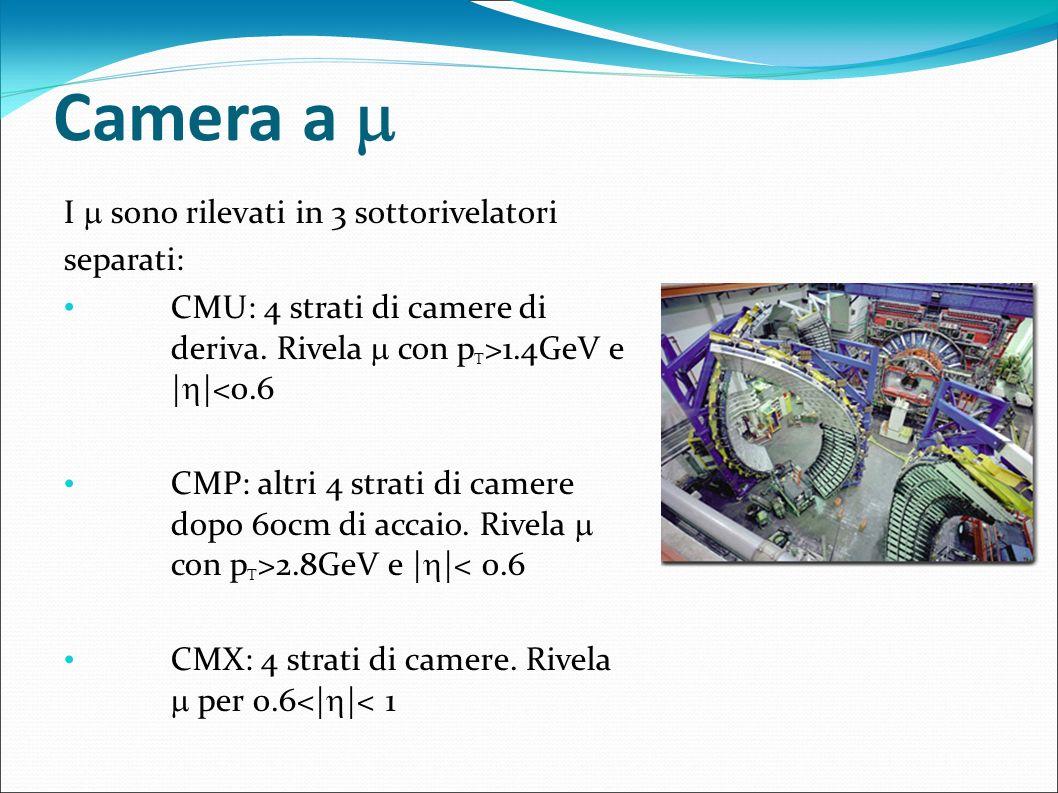 Camera a I sono rilevati in 3 sottorivelatori separati: CMU: 4 strati di camere di deriva. Rivela con p T >1.4GeV e | |<0.6 CMP: altri 4 strati di cam