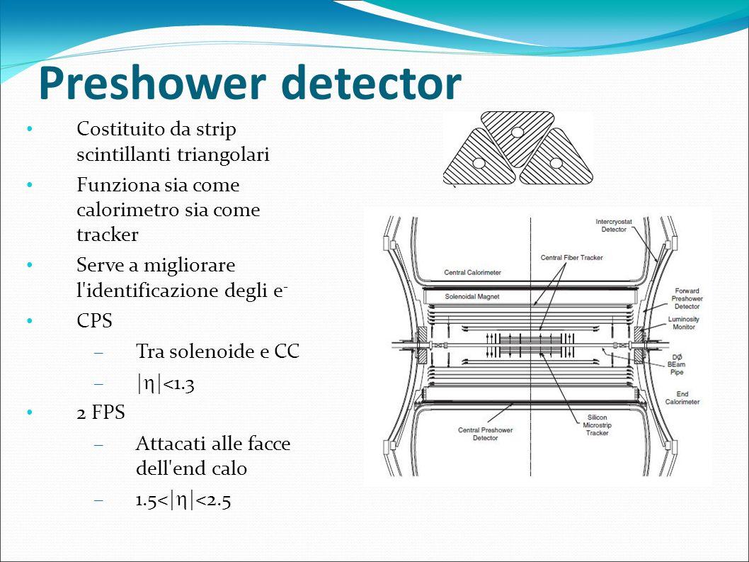 Preshower detector Costituito da strip scintillanti triangolari Funziona sia come calorimetro sia come tracker Serve a migliorare l'identificazione de