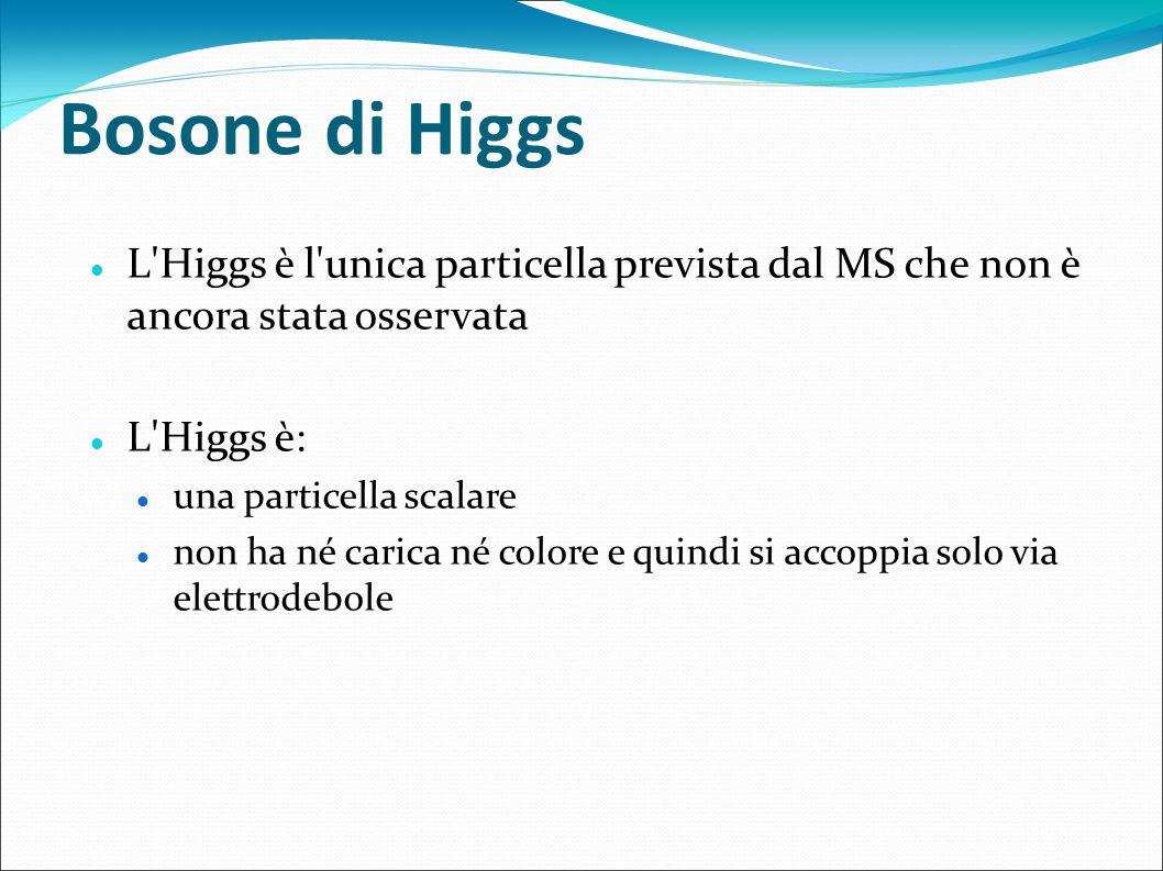 Bosone di Higgs L'Higgs è l'unica particella prevista dal MS che non è ancora stata osservata L'Higgs è: una particella scalare non ha né carica né co