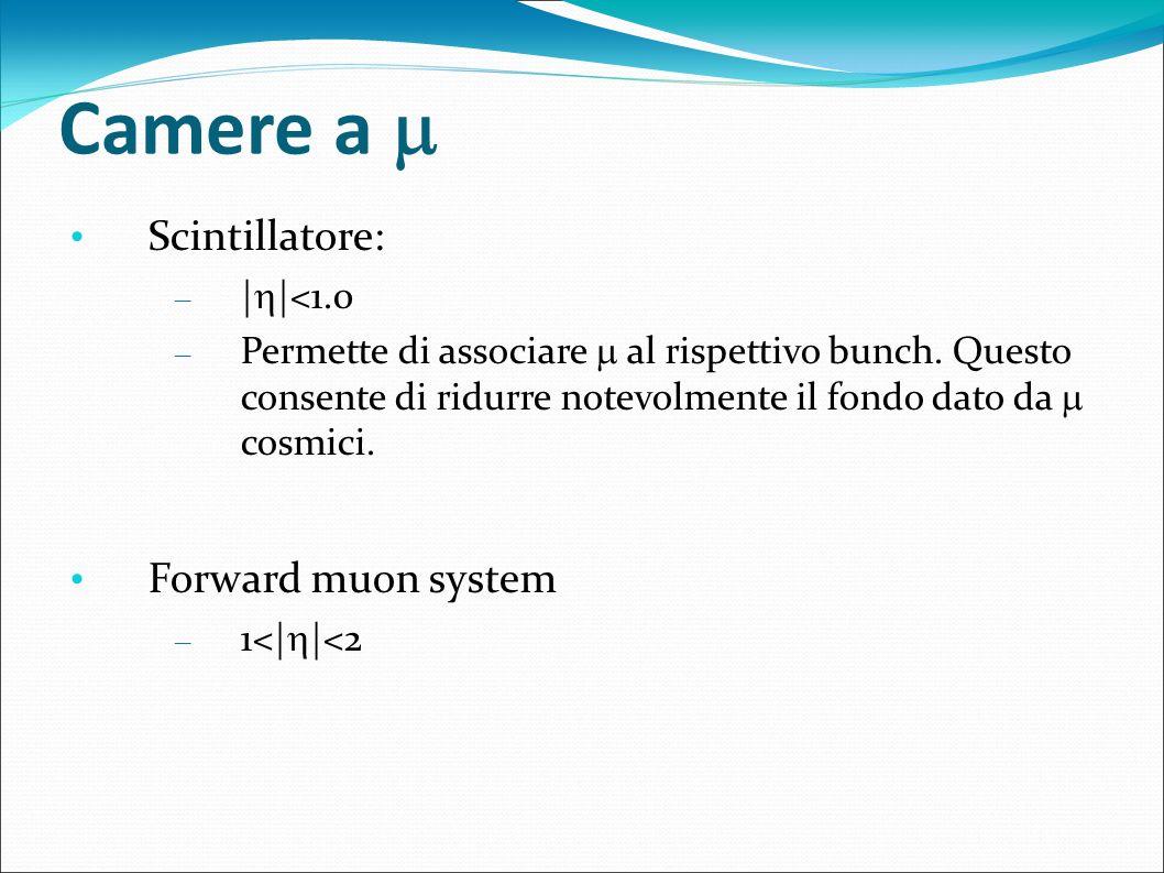 Camere a Scintillatore: – | |<1.0 – Permette di associare al rispettivo bunch. Questo consente di ridurre notevolmente il fondo dato da cosmici. Forwa