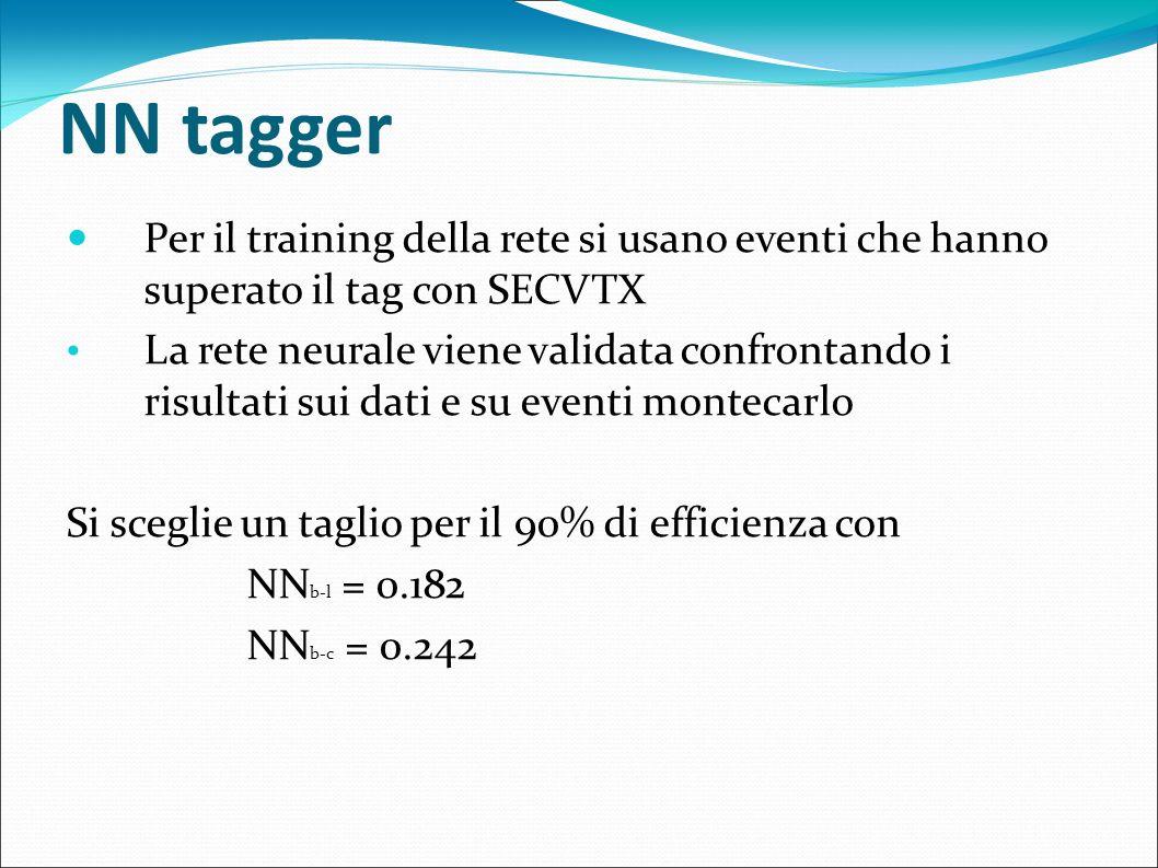 NN tagger Per il training della rete si usano eventi che hanno superato il tag con SECVTX La rete neurale viene validata confrontando i risultati sui