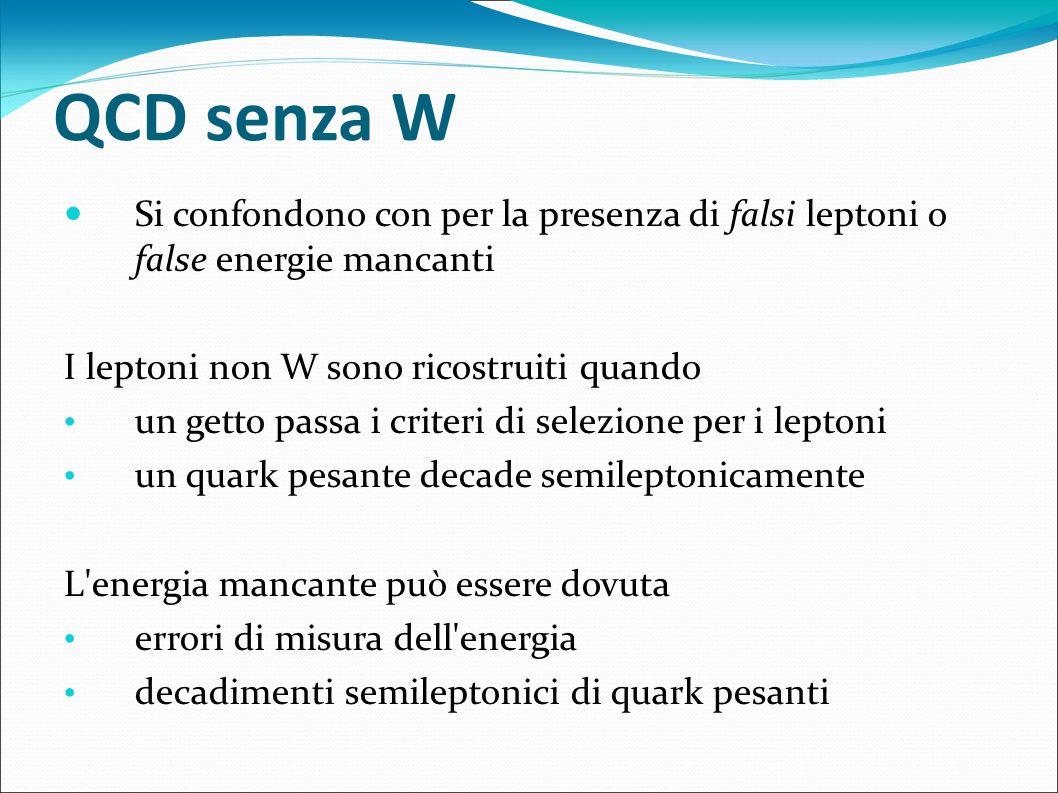QCD senza W Si confondono con per la presenza di falsi leptoni o false energie mancanti I leptoni non W sono ricostruiti quando un getto passa i crite