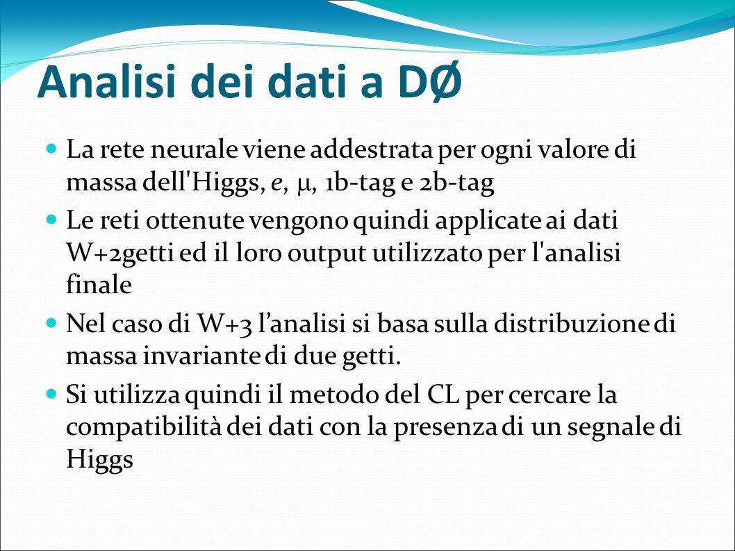 Analisi dei dati a DØ La rete neurale viene addestrata per ogni valore di massa dell'Higgs, e,, 1b-tag e 2b-tag Le reti ottenute vengono quindi applic