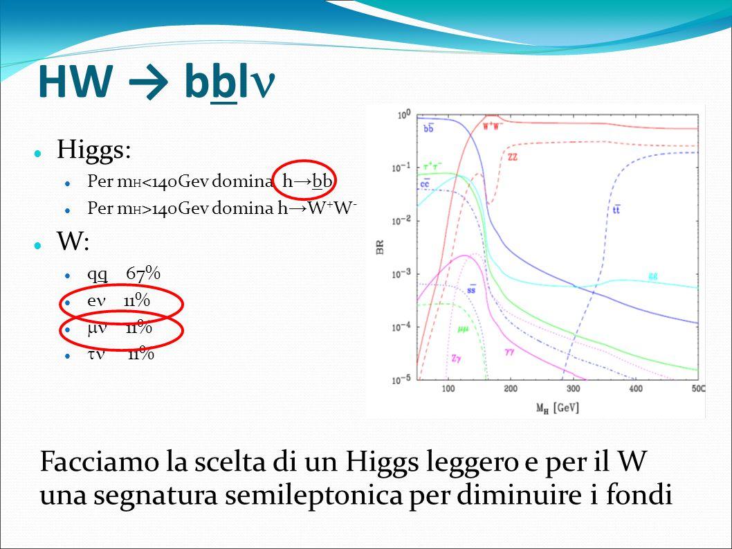 HW bbl Higgs: Per m H <140Gev domina h bb Per m H >140Gev domina h W + W - W: qq 67% e 11% 11% Facciamo la scelta di un Higgs leggero e per il W una s