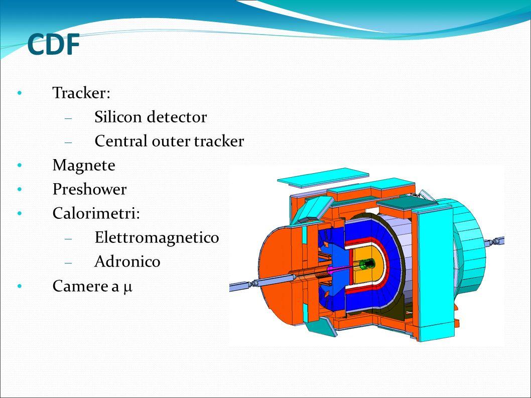 Silicon detector    <2.0 7 cilindri concentrici di rivelatori di silicio a microstrip È immerso in un campo magnetico di 1.4T curva le particelle cariche (più lente e più leggere sono più sono curvate) Estremamente preciso usato vicino al punto di collisione per cercare di distinguere particelle vicine