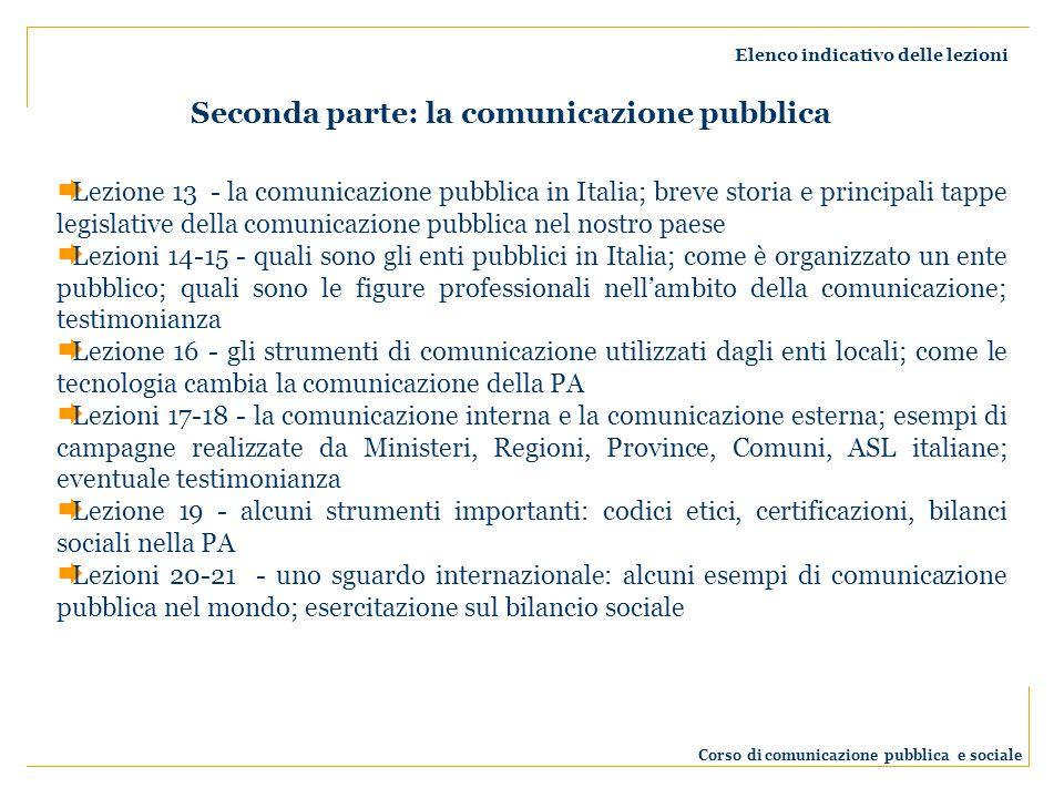 Elenco indicativo delle lezioni Corso di comunicazione pubblica e sociale Lezione 13 - la comunicazione pubblica in Italia; breve storia e principali tappe legislative della comunicazione pubblica nel nostro paese Lezioni 14-15 - quali sono gli enti pubblici in Italia; come è organizzato un ente pubblico; quali sono le figure professionali nellambito della comunicazione; testimonianza Lezione 16 - gli strumenti di comunicazione utilizzati dagli enti locali; come le tecnologia cambia la comunicazione della PA Lezioni 17-18 - la comunicazione interna e la comunicazione esterna; esempi di campagne realizzate da Ministeri, Regioni, Province, Comuni, ASL italiane; eventuale testimonianza Lezione 19 - alcuni strumenti importanti: codici etici, certificazioni, bilanci sociali nella PA Lezioni 20-21 - uno sguardo internazionale: alcuni esempi di comunicazione pubblica nel mondo; esercitazione sul bilancio sociale Seconda parte: la comunicazione pubblica