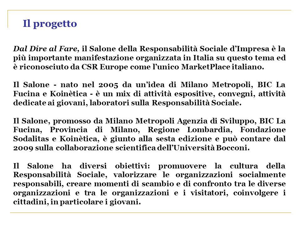 Il progetto Dal Dire al Fare, il Salone della Responsabilità Sociale dImpresa è la più importante manifestazione organizzata in Italia su questo tema
