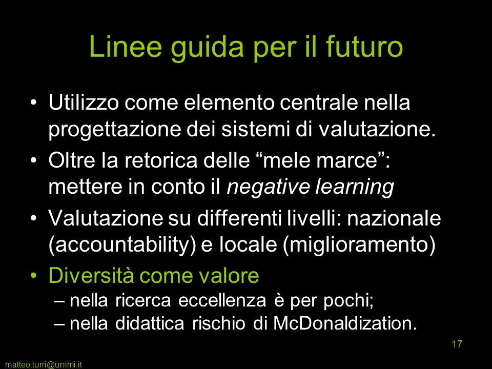 matteo.turri@unimi.it 17 Linee guida per il futuro Utilizzo come elemento centrale nella progettazione dei sistemi di valutazione. Oltre la retorica d